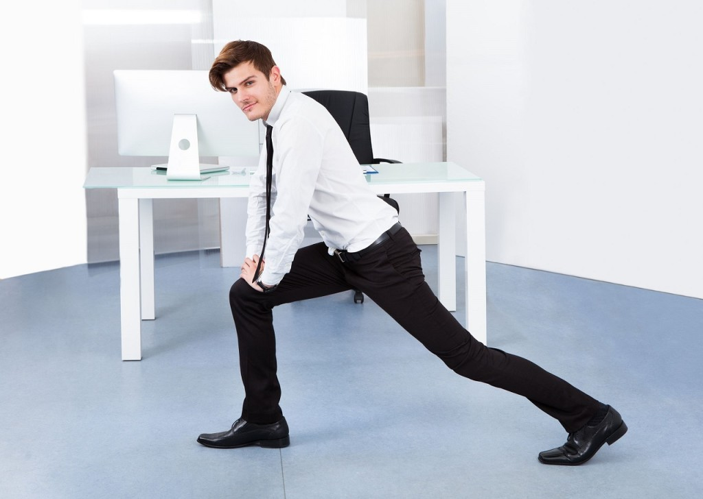 conference room lunges desk exercise